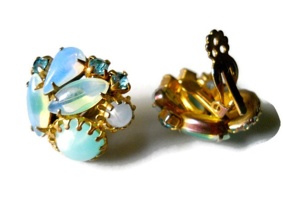 Vintage Earrings Givre Glass and Lucite Juliana 1950s