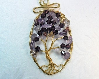 Tree of Life - Made of Amethyst Chips and 4mm Bicone Crystals - Pendant - Necklace -14 k Gold Plate wire and Chain - Free Shipping in U.S.