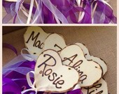 Flower Girl Fairy Wand Bouqet Alternative Woodland Chic Wedding with LOTS of Ribbon Engraved with Initials or Names