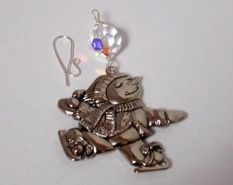 Gorham Silver Plated Ornament, Gorham Snowman Ice Skating Ornament, Christmas SunCatcher, Silver Plated Christmas Decor - UpCycling Gorham