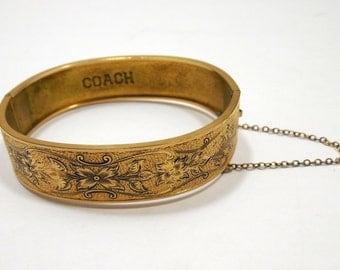 S O Bigney Ornate Bangle Bracelet, 1930-40s Bangle Hinged Bracelet, Gold Filled Vtg Ornate Floral Dimensional Design-Taille d'Epargne, Coach