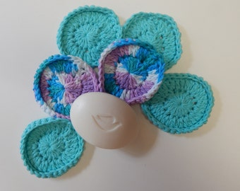 Spa Face Scrubbies - Crochet in Purple Turquoise - Set of 6