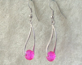 Crystal Earrings - Fuchia