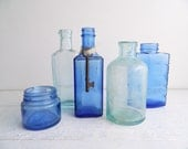 Antique Small Apothecary Bottle Collection, Seafoam Green, Cobalt Blue, Set of 5, Coastal Home Decor Display