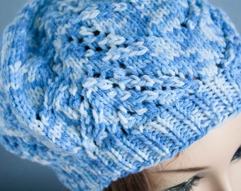 Slouchy blue variegated hat
