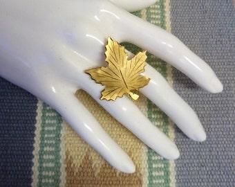 Vintage Bond Boyd Gilded Sterling Silver, Symbol of Canada Maple Leaf Brooch, Brushed Metal, Engraved Metal Maple Leaf Pin