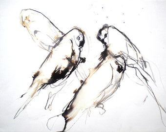 LA Espera. ORIGINAL ART birds watercolour ink painting