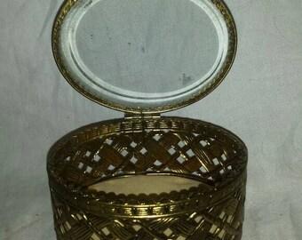 Vintage filigree  jewelry casket