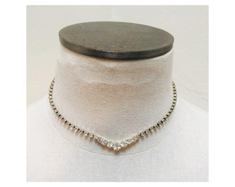 Vintage 1960s Rhinestone & Silver Choker Necklace
