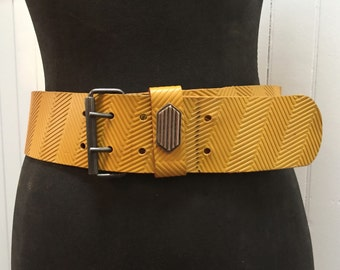 Vintage 1980s Yellow Leather Punk Rock Belt