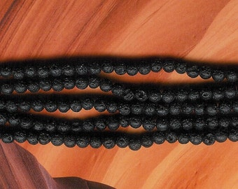 4mm Black Lava Round Beads, Essential Oil Bead, Black Lava, Lava Bead for Essential Oils, Lavender Essential Oil Bead, 4mm Black Rock