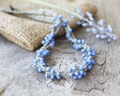 Linen necklace with blue glass beads Rustic Natural Boho chic jewelry Spring fashion