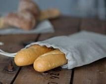 Linen Bag for Bread - Natural Linen Bread Bag - Long Baguette Bag - Reusable Bread Keeper - Natural linen bag
