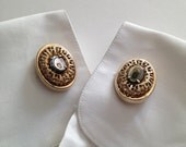 Vintage Oversize Abalone Shell Cufflinks - Gold Plate