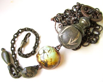 May Your Winning Streak Never End - long tribal American turquoise, African bead, vintage verdigris found object, chain metalwork necklace