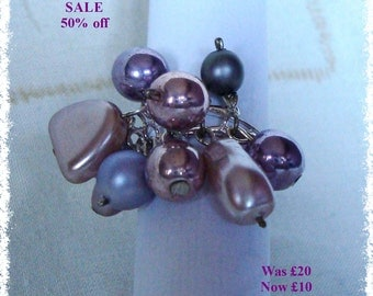 SALE - Faux Pearl Cluster Ring - Purple