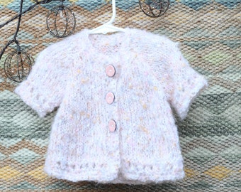 12m Knitted Sweater, Button Down Knitted Tunic, Baby Girl Gift