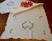White Dresser Scarf Blue Floral Embroidery and Cutwork Vintage Table Runner Table Linens