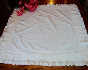 """Antique Pillow Layover Pillow Sham or Table Cover with Ruffle Edge 34"""" x 35"""""""