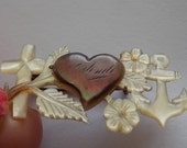 Vintage Sweetheart ww1 Mother Of Pearl Anchor Cross Carved Brooch GORGEOUS