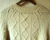 Fisherman Sweater Vintage Hand Knit Irish Aran oversized chunky ivory white wool unisex womens mens