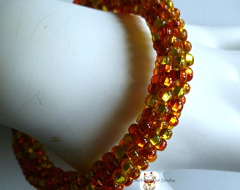 """Orange red beaded Kumihimo cuff bracelet """"Amber Glow"""", gifts for her, bangle bracelet"""