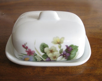 Porcelaines du Roy small butter cheese plate with lid Floral Design Porcelain