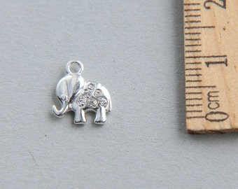 925 Sterling Silver Elephant Charm, Tiny sterling silver elephant charm, Baby Elephant Charm with Swarovski stones, 10mm ( 1 piece )