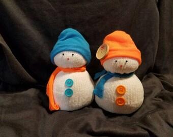 Cute Snowmen Couple in Colorado Blue & Orange