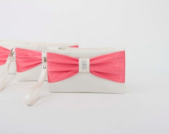 PROMOTIONAL SALE -Ivory pinkish coral bow wristlet clutch,bridesmaid clutch gift  ,wedding gift ,make up bag,zipper pouch,
