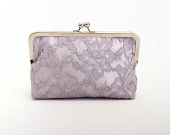 Big Sale - Grey frame purse clutch with grey lace ,bridesmaid clutches ,bridal clutch ,bridesmaid gift,SILVER FRAME purse