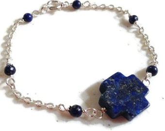 Lapis Bracelet - Navy Blue Jewelry - Celtic Cross - Sterling Silver Jewellery - Lapis Lazuli Gemstone - Chain