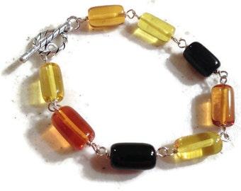 Amber Bracelet - Sterling Silver Jewelry - Gemstone Jewellery - Wire Wrapped - Fashion