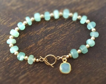 Aqua Bracelet - Chalcedony Gemstone Jewelry - Gold Jewellery - Luxe - Couture - Beaded - Charm