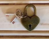 Heart Lock Padlock Box Lock with Heart Keys RED GOLD or PINK Lock and key