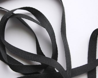"""3/8"""" Polyester Twill Tape - Black - 5 yards"""