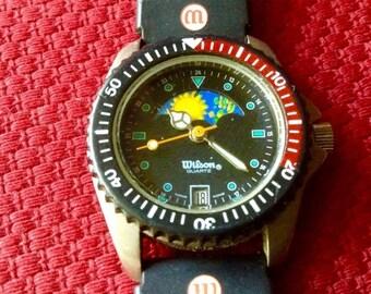 Wilson womens watch moonphase watch Gemini watch vintage sports watch athletics Wilson wrist watch