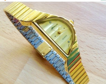 WATCH CLEARANCE EVENT Afterthoughts vintage Art Deco watch asymmetrical watch ladies classic wrist watch gold dial gold toned case