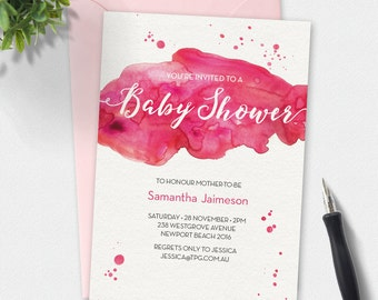 Baby shower invitation, watercolor Invitation, custom invitation, printable invitation, pink watercolor invite
