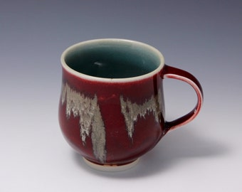 Wheel-thrown Porcelain Mug with Red and Gold Glazes by Hsinchuen Lin 林新春