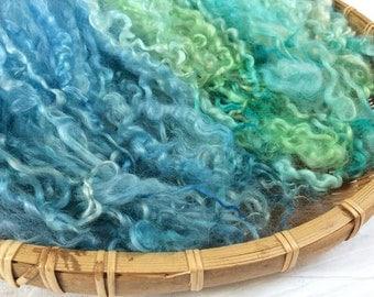 Hand Dyed British Teeswater Wool locks 60gms for Waldorf Dolls, Art Dolls, Blythe Dolls, Spinning and Felt Making 'Tropical Wave' colorway