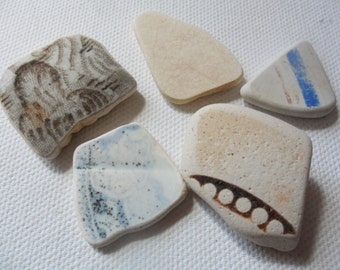 4 blue, cream and brown beach pottery finds - Lovely Spittal beach northumberland