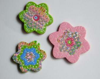 Polymer Clay Refrigerator Magnets, pink and green flower magnets, set of 3 kitchen magnets