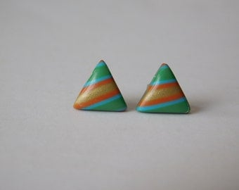 Small Polymer Clay Stud Earrings, 11 mm Triangle Studs