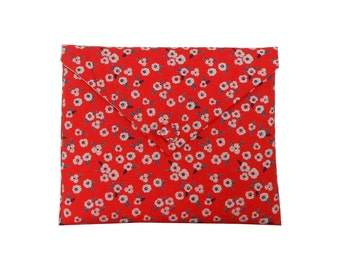 iPad case padded, iPad cover, iPad sleeve - garance red floral printed fabric