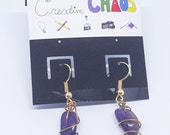 OOAK - Wire Wrapped Amethyst Tooth Earrings - Dangles = Awesome!