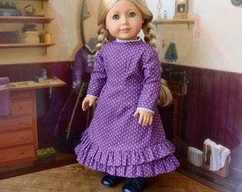 1880s Mary and Laura Prairie Dress in Purple for 18 inch doll