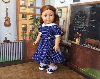 Navy Blue Polka Dot 1930s Princess Seam Dress for Kit, Ruthie or 18 inch Doll