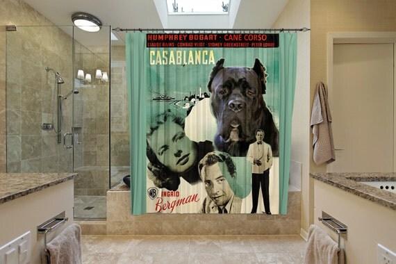 Cane Corso Art Shower Curtain, Dog Shower Curtains, Bathroom Decor - CASABLANCA Movie Poster by Nobility Dogs