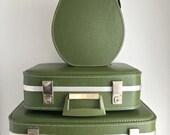 Vintage 3 Piece Luggage Set Avocado Green Jet-Setter